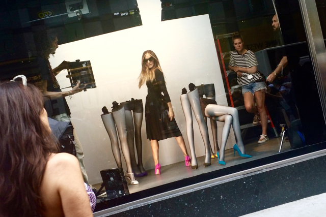 Sarah Jessica Parker on set Monday for promotional images for her shoe line's partnership with Bloomingdale's.