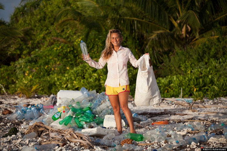 "Alison's Adventures Maldives ""One man's trash is another woman's bikini"" While shooting Discover Channel's #1 show Naked and Afraid in the Maldives, I was overwhelmingly shocked by the amount of plastic trash covering the uninhabited, picturesque island. This was only one island - I couldn't bear to imagine what the other 1,200 islands looked like, covered in trash. To leave the island we actually made a raft out of bottles. As we paddled to our rescue boat, I swore I would come back and do something about the plastic pollution. After returning from ""everest of survival challenges"" living with NOTHING for 21 days, I devoured a chocolate bar, took a much needed shower and my first thought was: How can I help transform plastic waste around the world into usable items? The scariest thought was that only a portion of the plastic trash was coming from the inhabited islands, it was also coming to the island chain from other countries brought by the ocean currents. Over a year later I retuned to the Maldives, hosted by Shaahina Ali and accompanied by photographers/videographers Sarah Lee and Mark Tipple. Together we set off on a wild adventure back to ""my island"" wearing all clothing made from recycled plastic bottles from a company called Repreve that transforms plastic into usable thread for world renowned brands like Patagonia, Odina, Teeki, Volcom, and Roxy - and of course my surfboards are Sustainable Surf approved Eco Board made from recycled styrofoam and sunglasses from Zeal Optics. An international icon of natural beauty, my experience in the Maldives presents an opportunity to tell a crucial story about plastic waste and recycling that fits into my ""Surf Survive Sustain"" mission, of living a non-invasive existence as environmentally responsible as possible. While there, I collected trash in an effort save the highly threatened biosphere (insert manta photo) and then retuned to my Naked and Afraid island to do a beach clean up with"