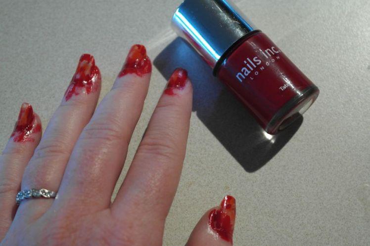 Halloween - ongles arrachés - stitched nails - tutoriel facile G