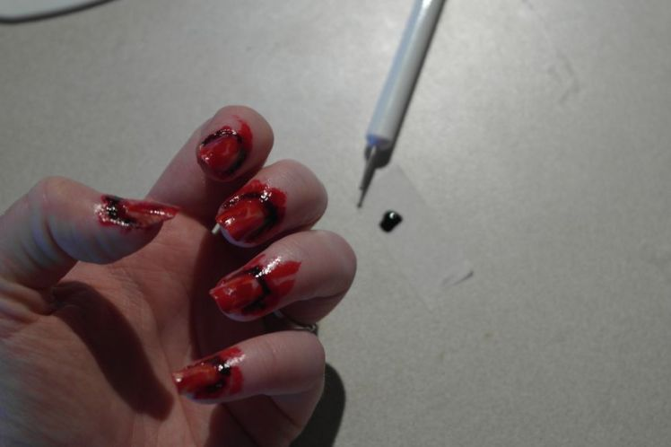 Halloween - ongles arrachés - stitched nails - tutoriel facile I