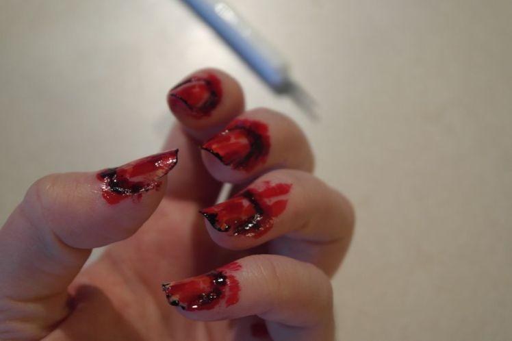Halloween - ongles arrachés - stitched nails - tutoriel facile K