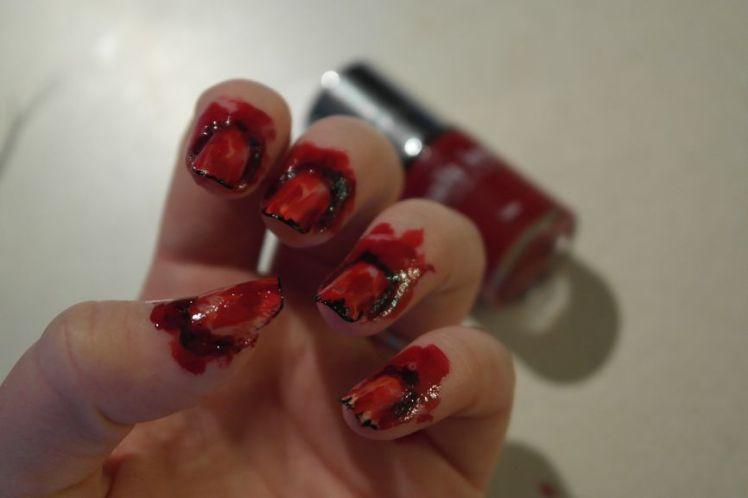 Halloween - ongles arrachés - stitched nails - tutoriel facile M