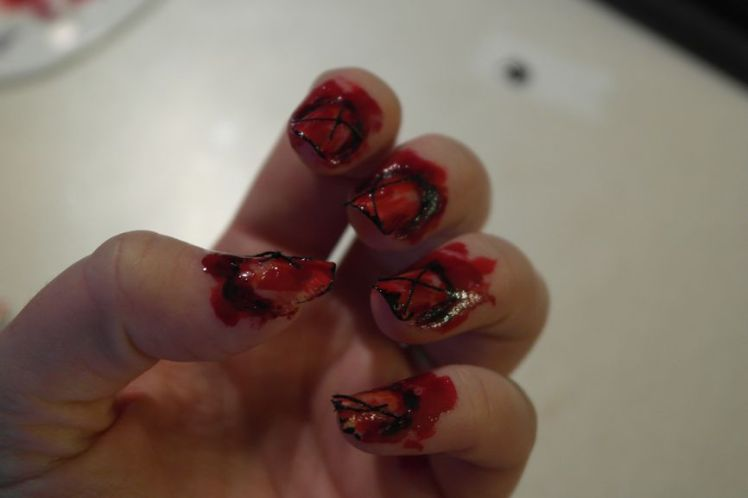 Halloween - ongles arrachés - stitched nails - tutoriel facile O
