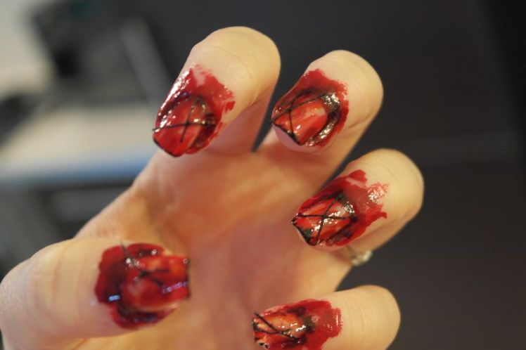 Halloween - ongles arrachés - stitched nails - tutoriel facile Q