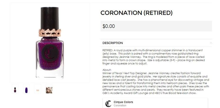 Nail polish Coronation Cirques Colors and Jeannie Vianney G