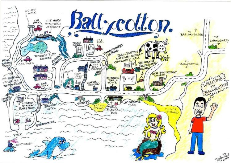 Ballycotton carte dessin irlande