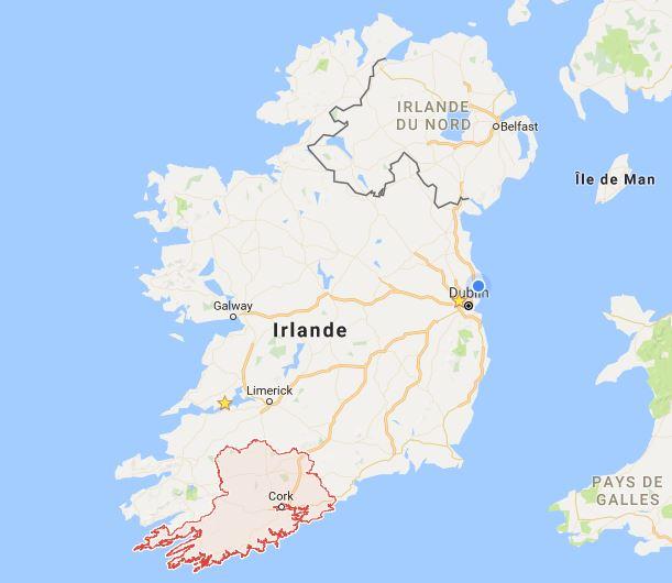 Carte Irlande Comté Cork